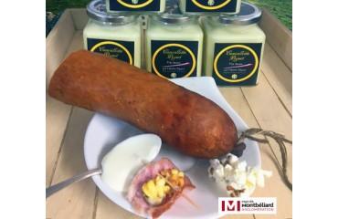 Saucisse de Morteau aux pop-corn de cancoillotte au vin jaune